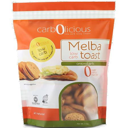 Carbolicious Melba Low Carb Toast Onion And Garlic 4oz is suitable for phase 1 and 2