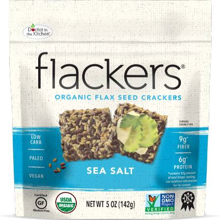 Doctor In The Kitchen Organic Flax Seed Crackers Sea Salt 142g is suitable for phase 1 and 2