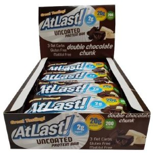 HealthSmart Atlast Uncoated Protein Bar Double Chocolate Chunk Box of 12