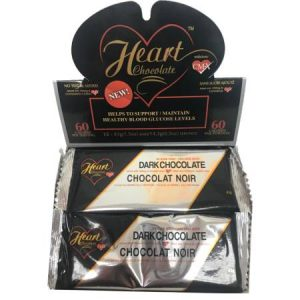 Heart Chocolate Dark Chocolate No Sugar Added Box of 12 Bars