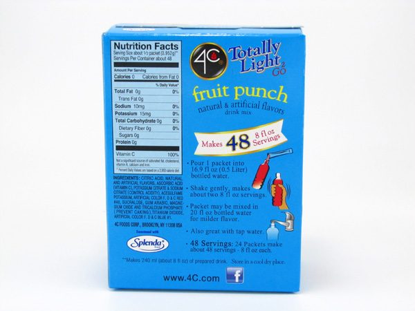 4C Totally light to go drink mix - Fruit punch back of box image