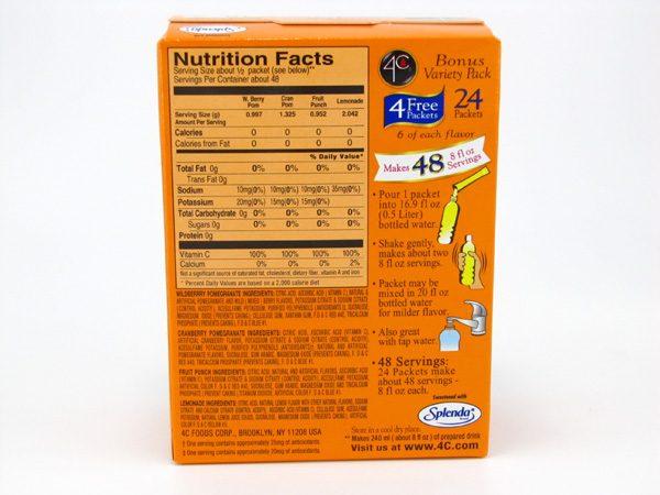4C Totally light to go drink mix - Bonus variety pack back of box image