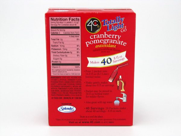 4C Tottaly light to go drink mix - Cranberry pomegranate back of box image