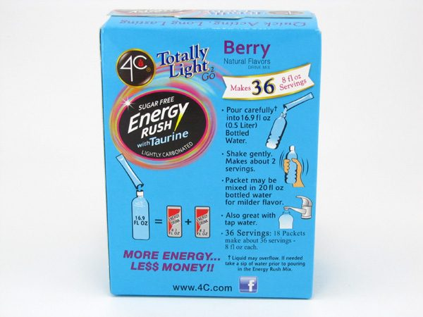 4C Totally light to go drink mix - Energy rush Berry back of box image