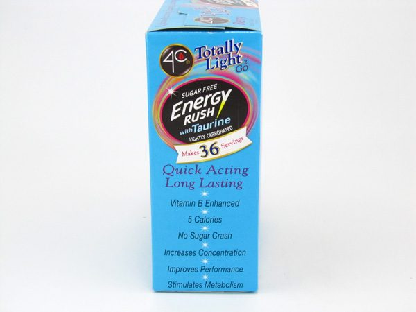 4C Totally light to go drink mix - Energy rush Berry side2 of box image