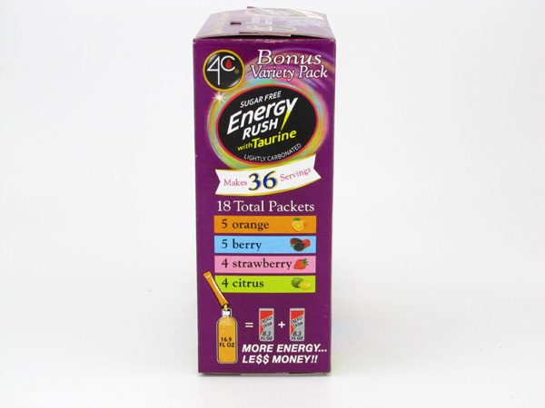4C Totally light to go drink mix - Energy Rush Bonus variety pac side2 of box image