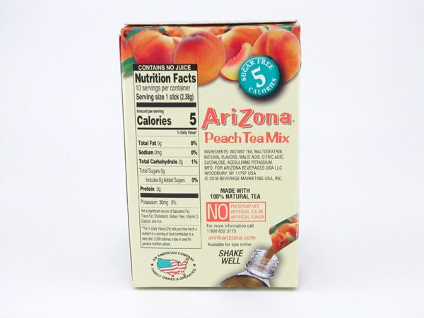 Arizona Peach Tea Mix back of box image