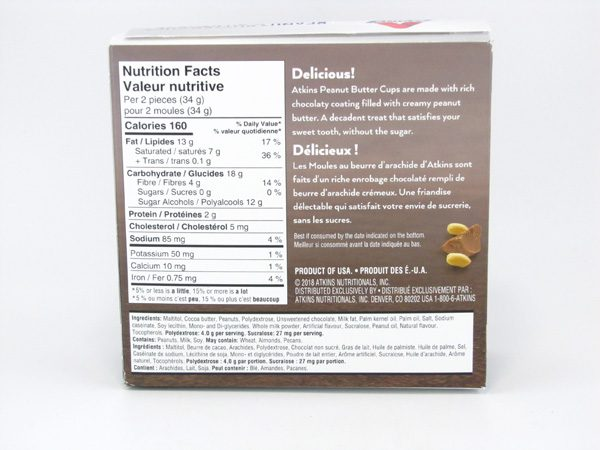 Atkins Endulge - Peanut Butter Cups back of box image