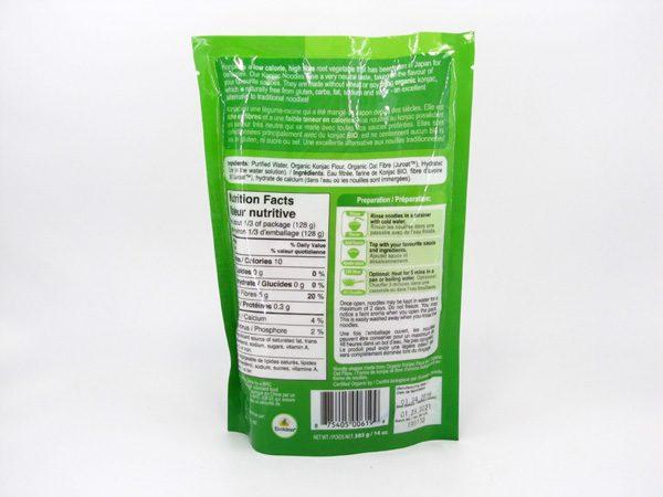 Organic Konjac Noodles back of bag