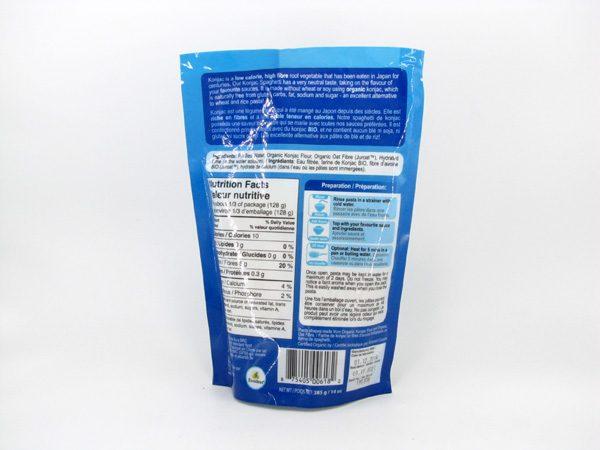 Organic Konjac Spaghetti back of bag