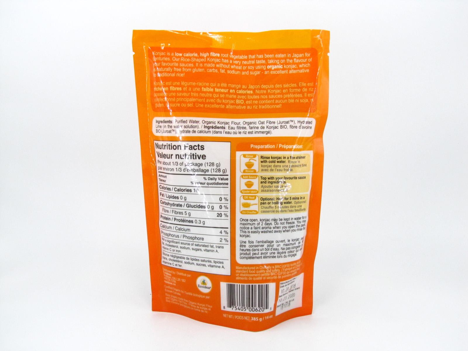Organic Konjac Rice Ontario Nutrition