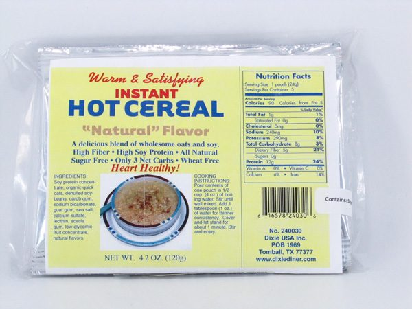 Hot Cereal - Natural Flavor - front view