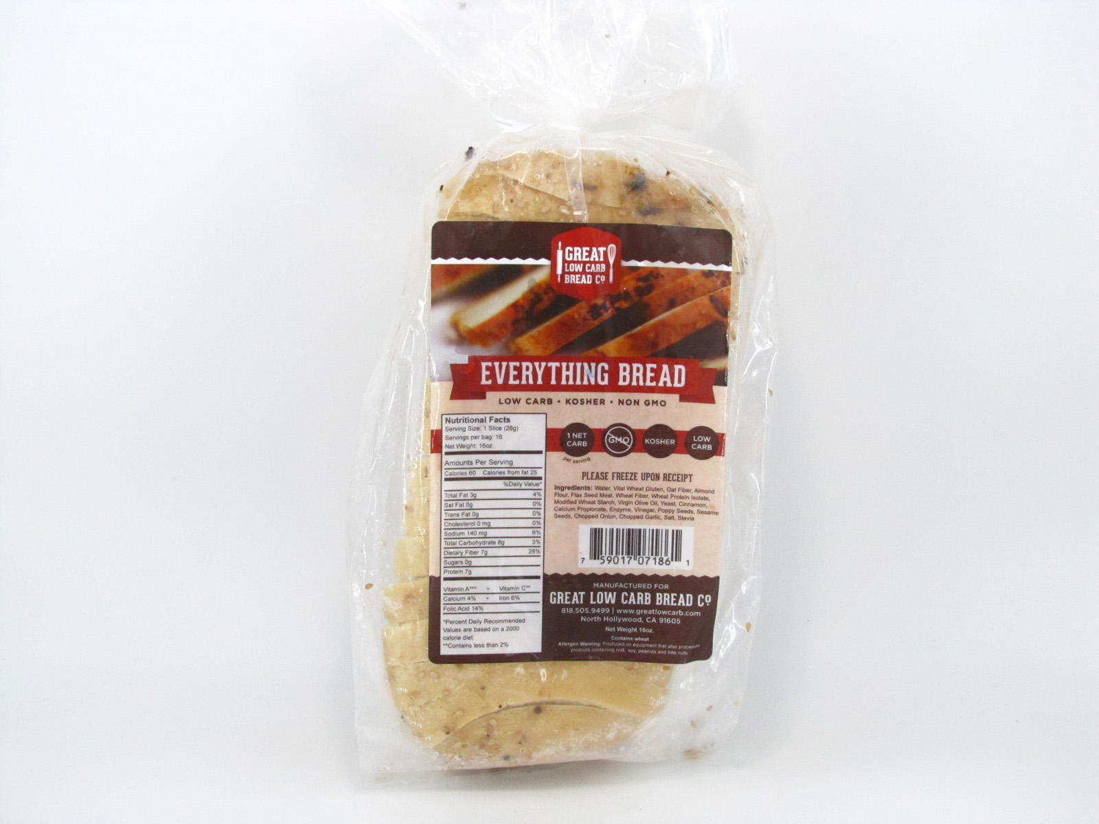 Great Low Carb Bread - Everything - front view