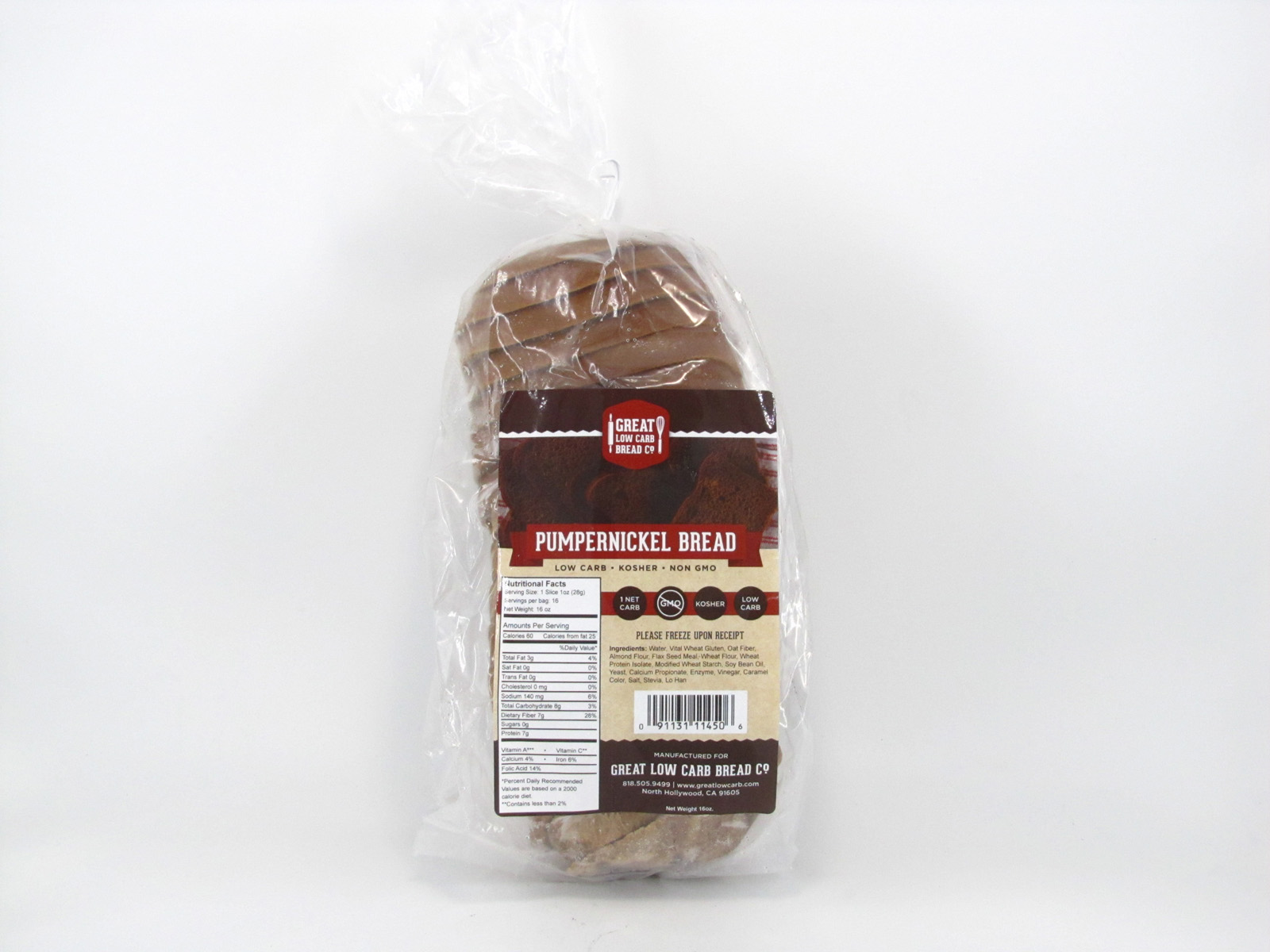 Great Low Carb Bread - Pumpernickel - front view