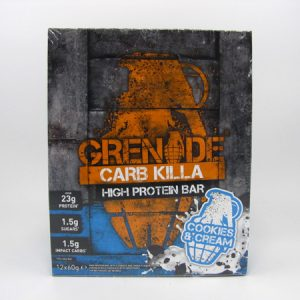 Grenade Carb Killa Protein Bar - Cookies & Cream Box of 12 - front view