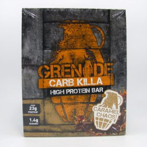Grenade Carb Killa Protein Bar - Caramel Chaos Box of 12 - front view