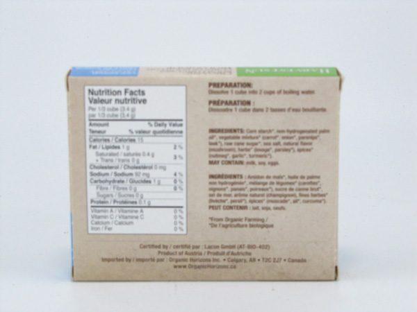 Organic Vegetable Bouillon Cubes - back view