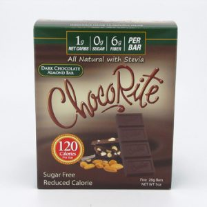 Chocorite Bar (Five 28g ) - Dark Chocolate Almond - front view