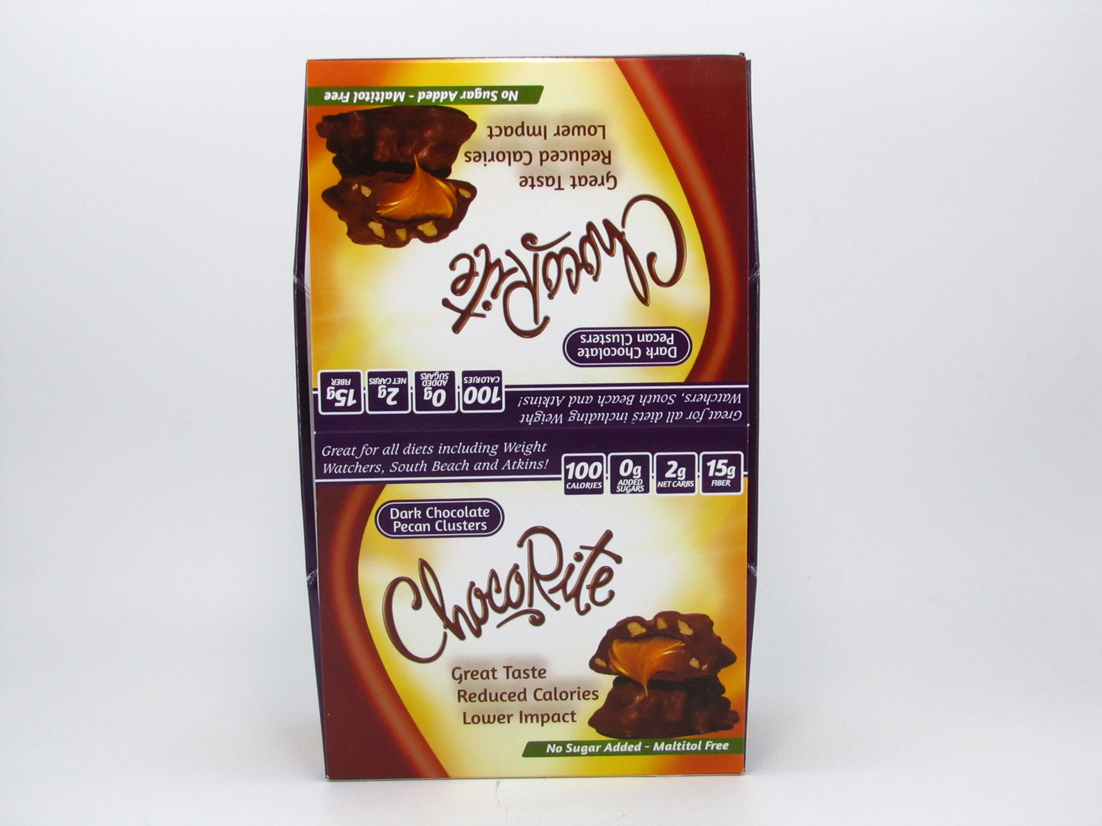 Chocorite Bar (32g) - Dark Chocolate Pecan Cluster Box of 16 - front view