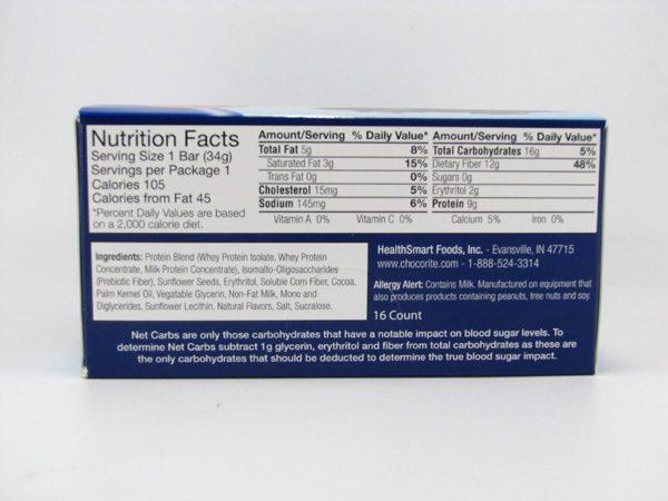 Chocorite Protein Bar ( 34g)- Triple Chocolate Fudge Box of 16 - side view