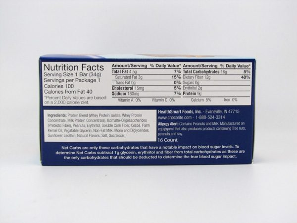 Chocorite Protein Bar ( 34g) - Peanut Butter Box of 16 - side view