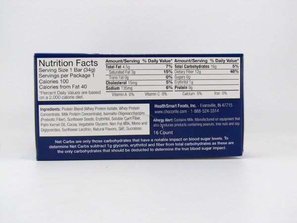 Chocorite Protein Bar ( 34g) - Salted Caramel Box of 16 - side view