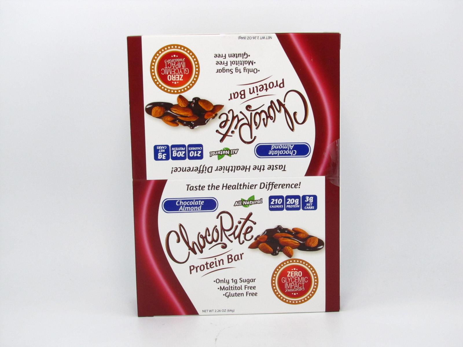 Chocorite Protein Bar ( 64g) - Chocolate Almond Box of 12 - front view
