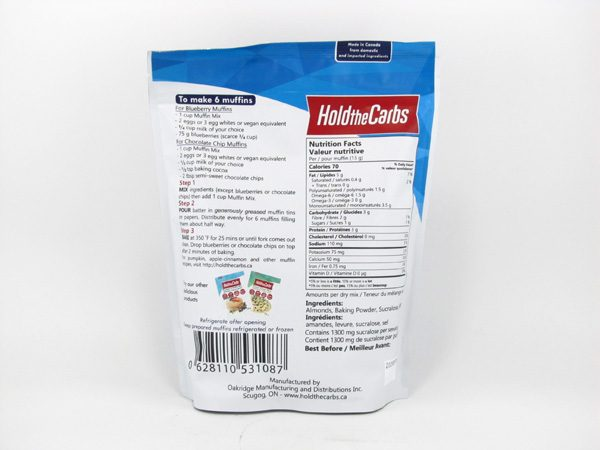 Hold the Carbs - Low Carb Muffin Mix 320g - back view