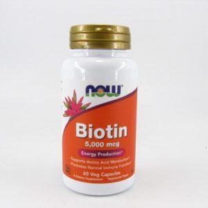 Now - Biotin 5000 mcg (60 capsules) - front view