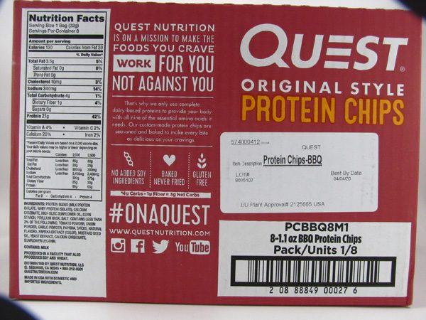 Quest Protein Chips - BBQ Box of 8 - back view
