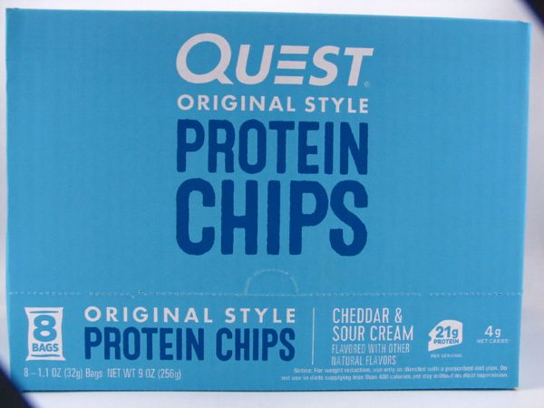 Quest Protein Chips - Cheddar & Sour Cream Box of 8 - front view