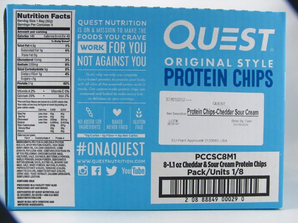 Quest Protein Chips - Cheddar & Sour Cream Box of 8 - back view