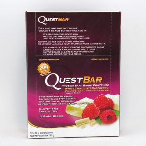 Quest Protein Bar - White Chocolate Raspberry Box of 12 - front view