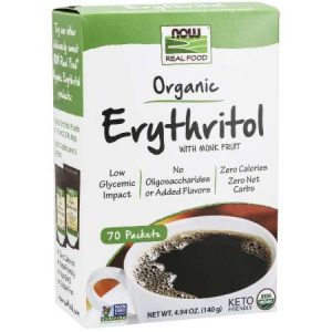 Now Organic Erythritol With Monk Fruit Keto Sweetener Packets 70g