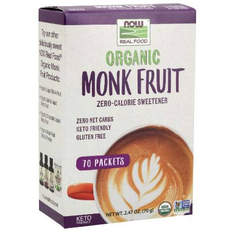 Now Organic Monk Fruit Keto Sweetener Packets With Erythritol 70g