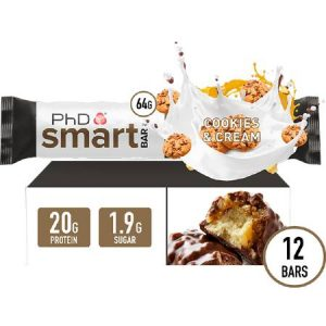 PhD Performance Nutrition Smart Bar Cookies and Cream Box of 12 Bars