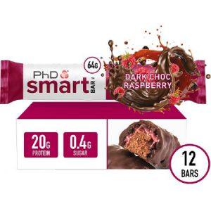 PhD Performance Nutrition Smart Bar Dark Chocolate Raspberry Box of 12 Bars