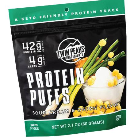 Twin Peaks Protein Puffs Sour Cream and Onion Flavor 60g